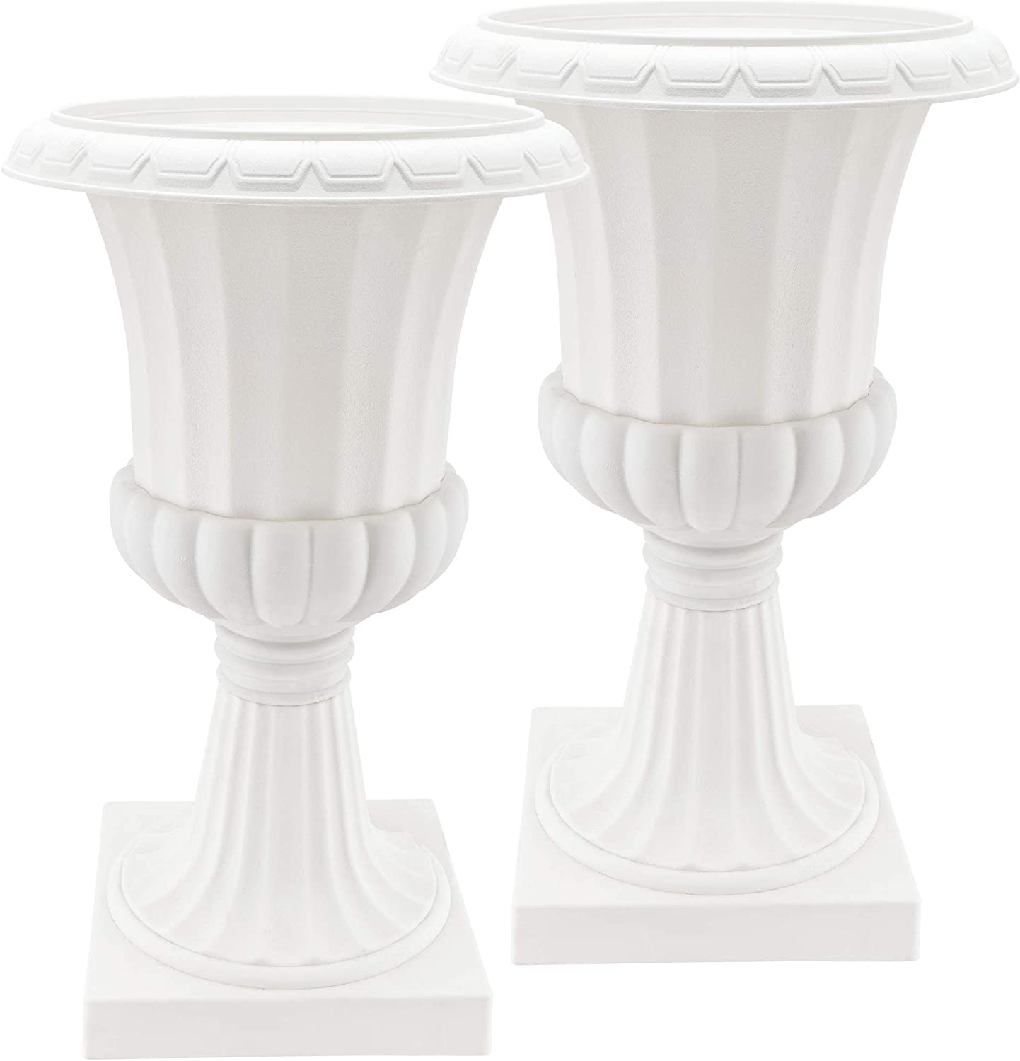 """Arcadia Garden Products PL52WT-2 Deluxe Plastic Urn(Pack of 2), White, 22""""x38"""""""
