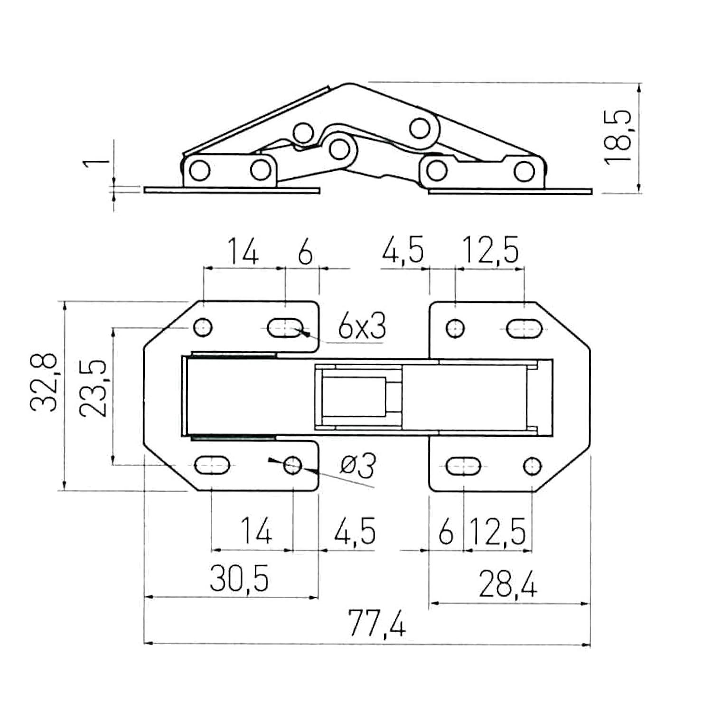 2 x SO-TECH/® Bisagra para Atornillar sobre el Frente Mueble 104 x 44 mm Bisagra de Mueble con Muelle