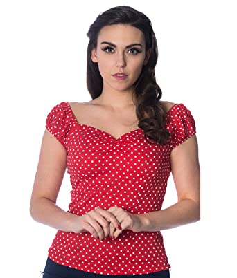 low priced cc084 c2f6a Dancing Days Carried a Wassermelone 50s Jahre Gepunktetes Top