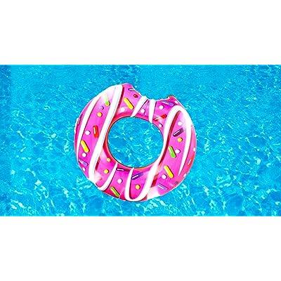 Cute Inflatables Colchoneta Flotador Donut Hinchable | ¡Gran Accesorio Divertido para la Piscina, la Playa o una Fiesta de Verano! |: Jardín