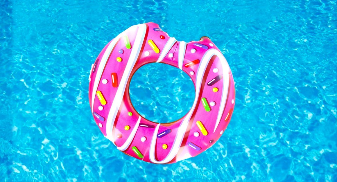Inflatable Doughnut Swimming Pool Lounger Lilo Float - Great Fun Accessory For The Swimming Pool, Beach or A Summer Party! Cute Inflatables