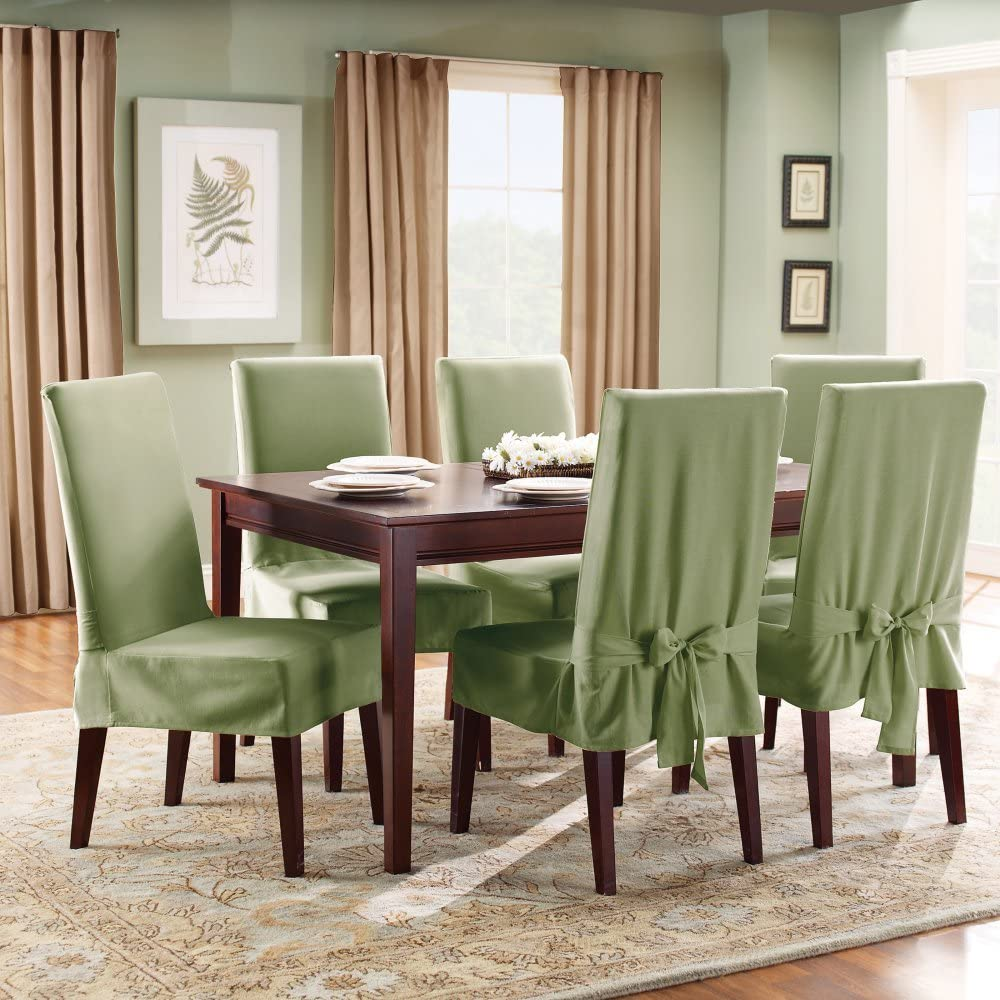 Sure Fit Duck Solid Shorty Dining Room Chair Slipcover Sage Sf33073 Amazon Co Uk Kitchen Home