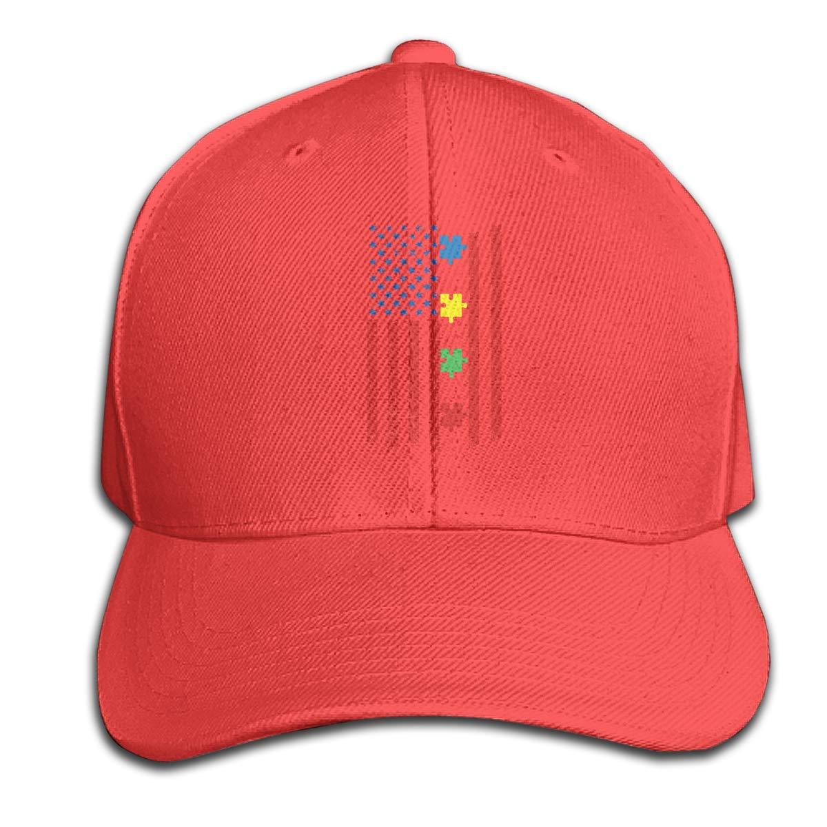 TAOHJS106 Autism Awareness American Flag Unisex Baseball Cap Adjustable Plain Hat for Women Men