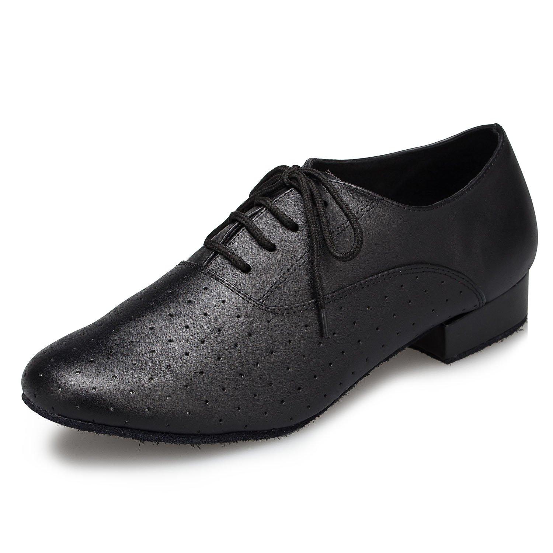 Aaron Mens Round Toe 1 Inch Heel Leather Lace Up Salsa Tango Ballroom Latin Jazz Modern Dance Shoes Aaron Style