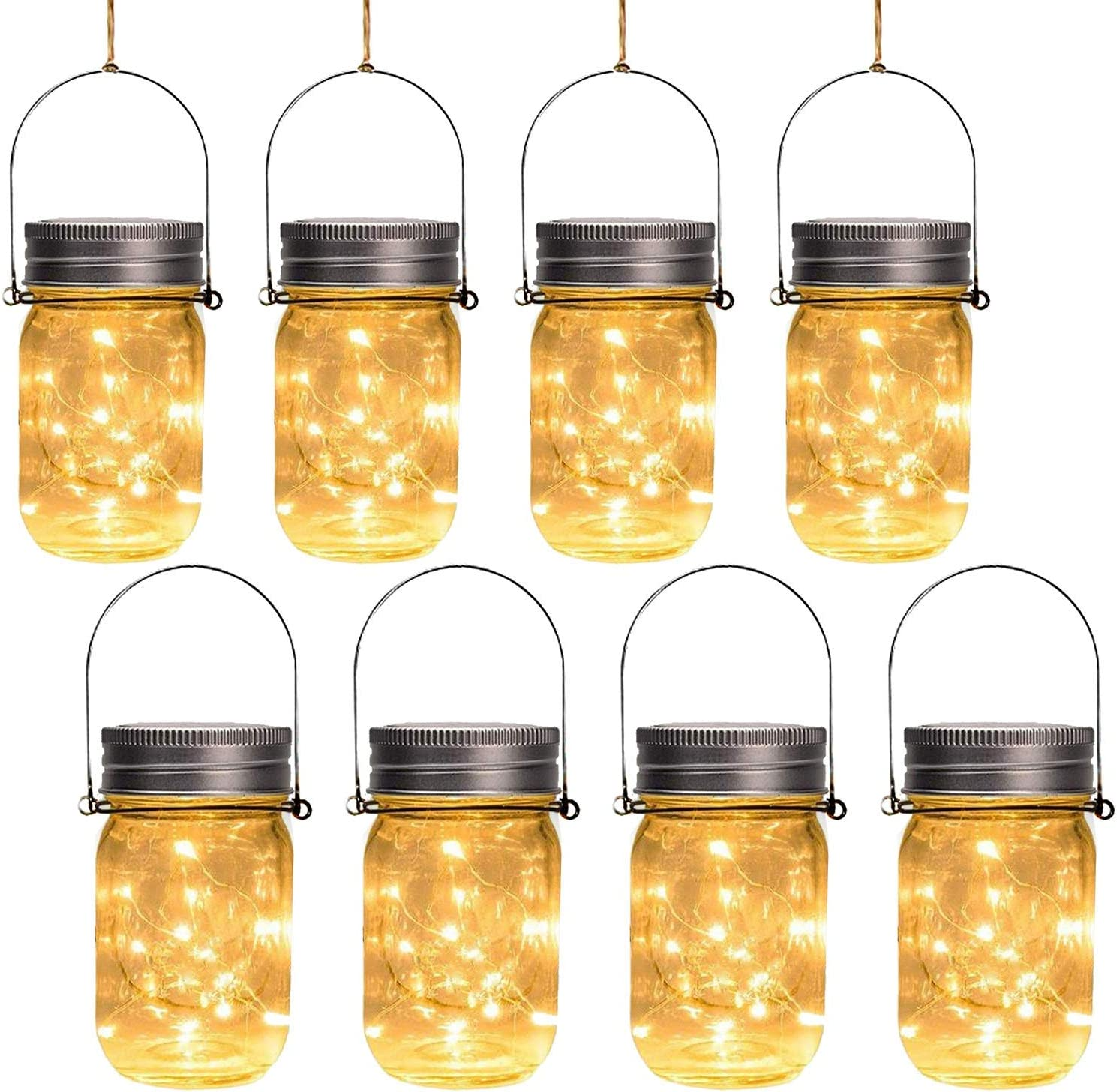 Otdair Solar Mason Jar Lights, Solar Powered Lanterns Outdoor Decorative, 30LED String Fairy Lights, Tree Lights Outdoor Hanging, for Room, Patio, Garden, Party, Wedding, Christmas, 8 PCS