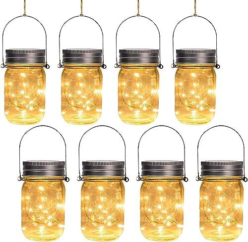 Otdair Solar Mason Jar Lights, 8 Pcs 30LED Outdoor Hanging Solar Lights for Garden Party Patio Fairy Wedding Decor Jars Handles Included