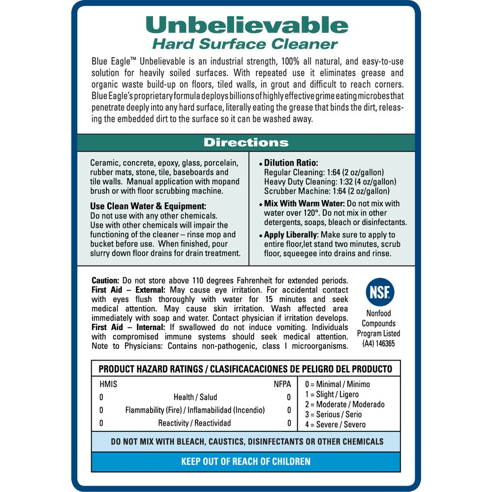 Blue Eagle Products 8-52281-00324-5  Unbelievable Hard Surface Cleaner, 32 oz. Concentrate by BlueEagle (Image #3)