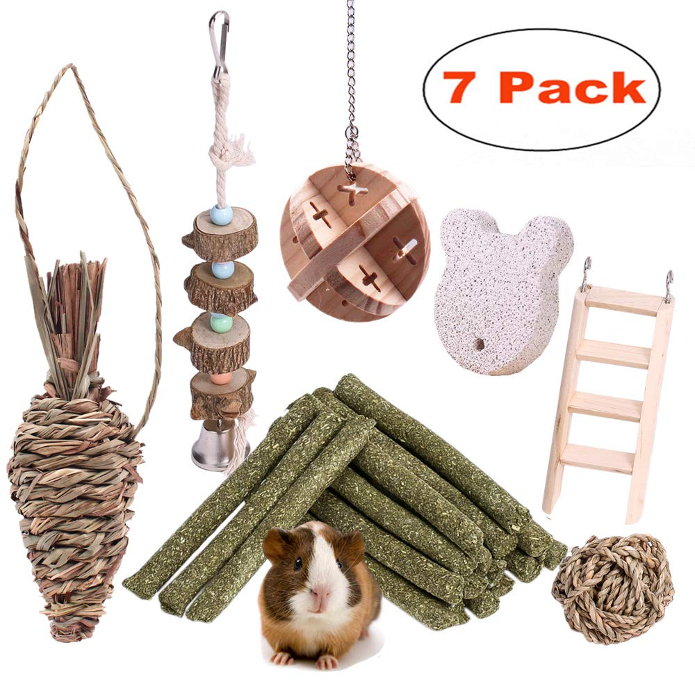 JanYoo Chinchilla Toys Guinea Pig Accessories Bunny Chew Sticks Wooden Ball for Rabbits Hamster Gerbil Rat Pack of 7 by JanYoo