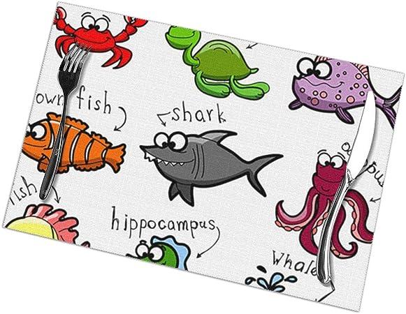 Rouxf Aquarium Dessin Anime Pieuvre Requin Dauphin Requin Baleine Poisson Clown Meduse Ermite Crab Ensemble De 6 Sets De Table Facile A Nettoyer Amazon Fr Cuisine Maison