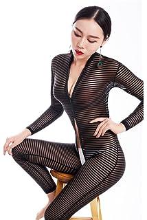 841ebadbf3 Nhmpretty Women Striped Bodysuit Zipper Long Sleeve Open Crotch Lingerie  Jumpsuit