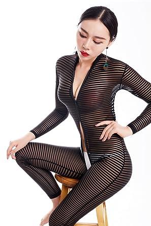 Nhmpretty Women Striped Bodysuit Zipper Long Sleeve Open Crotch Lingerie  Jumpsuit (Horizontal Stripes) ae170070d