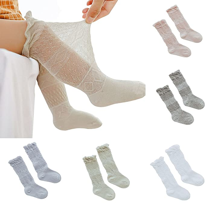 bc33b669952 5 Pack Baby Girls Ultra-thin Mesh Hollow Out Knee High Stockings  Anti-moaquito