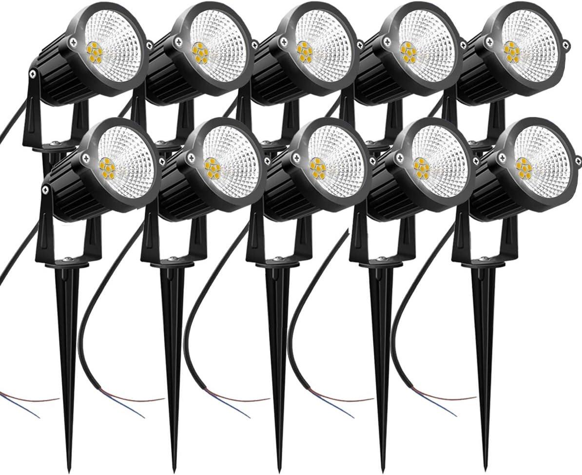 AHSELLUS Low Voltage LED Landscape Lights Outdoor 5W 12V 24V Garden Lights IP66 Waterproof Low Voltage Walls Flags Trees Spotlights Lighting (10 Pack)