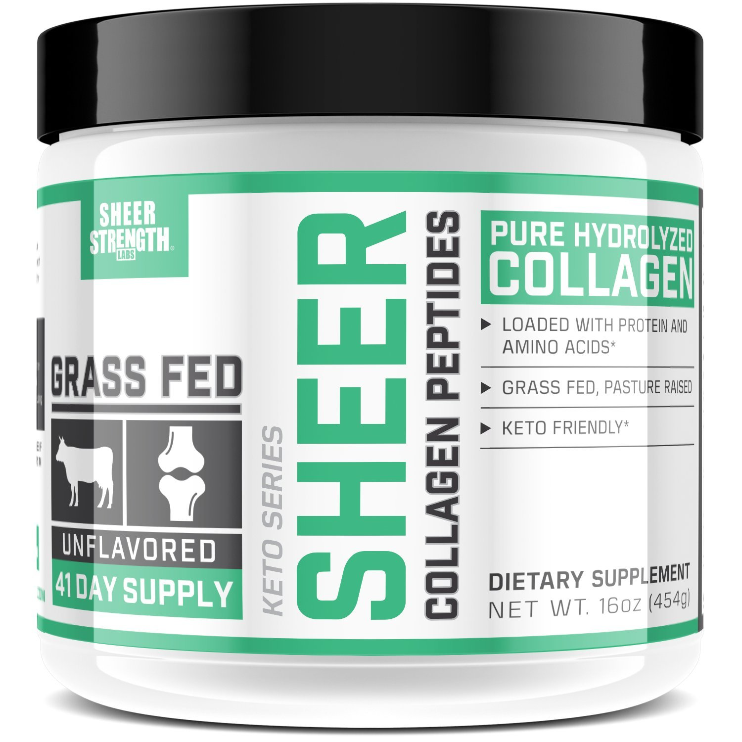 Pure Hydrolized Collagen Peptides Powder - Grass Fed, Gluten-Free, Non-GMO and Paleo Friendly - For Smooth Skin, Strong Hair and Healthy Bones/Joints/Nails - 16 oz Supplement - Sheer Strength Labs
