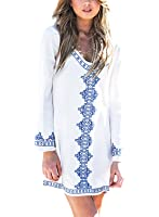 Singlelady Women's Embroidery Long Sleeve Pompom Beach Cover up Tunic Dress White