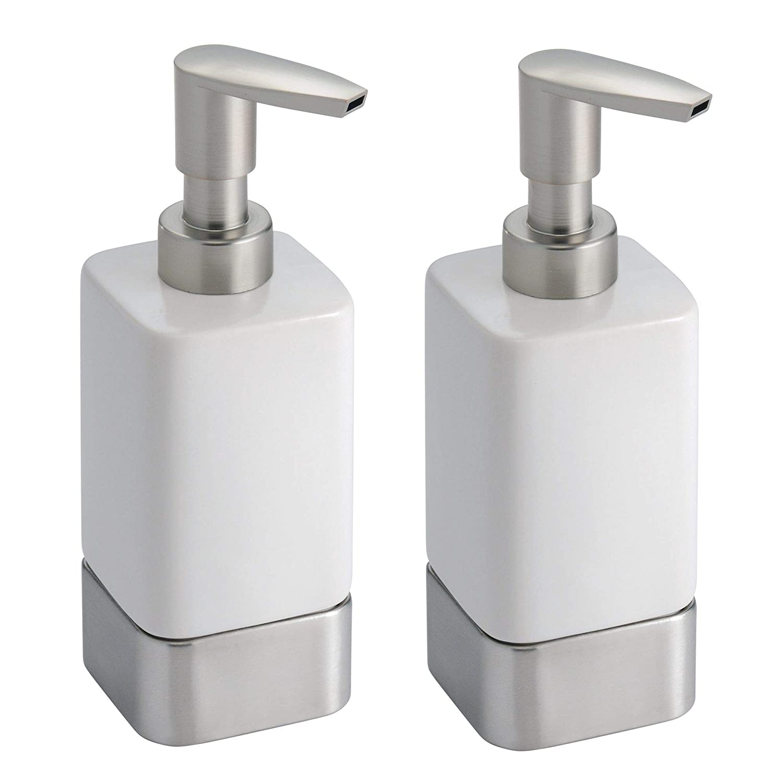 mDesign Modern Decorative Liquid Hand Soap Ceramic Refillable Dispenser Pump Bottle for Kitchen, Bathroom | Also for Hand Lotion & Essential Oils - Pack of 2, White/Brushed Nickel MetroDecor