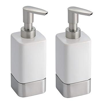mDesign Dispensador de jabon rellenable - Dosificador de jabon en cerámica con capacidad de 354 ml