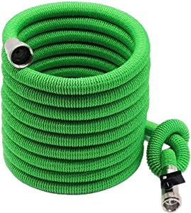 Sunshine Evergreen Expandable Garden Hose - Light Fabric Green Flexible Water Hose for Outdoor Garden or Car Wash with Spray Nozzle, Storage Bag, Hose Holder and Washer - Heavy Duty and Kink Free Hose