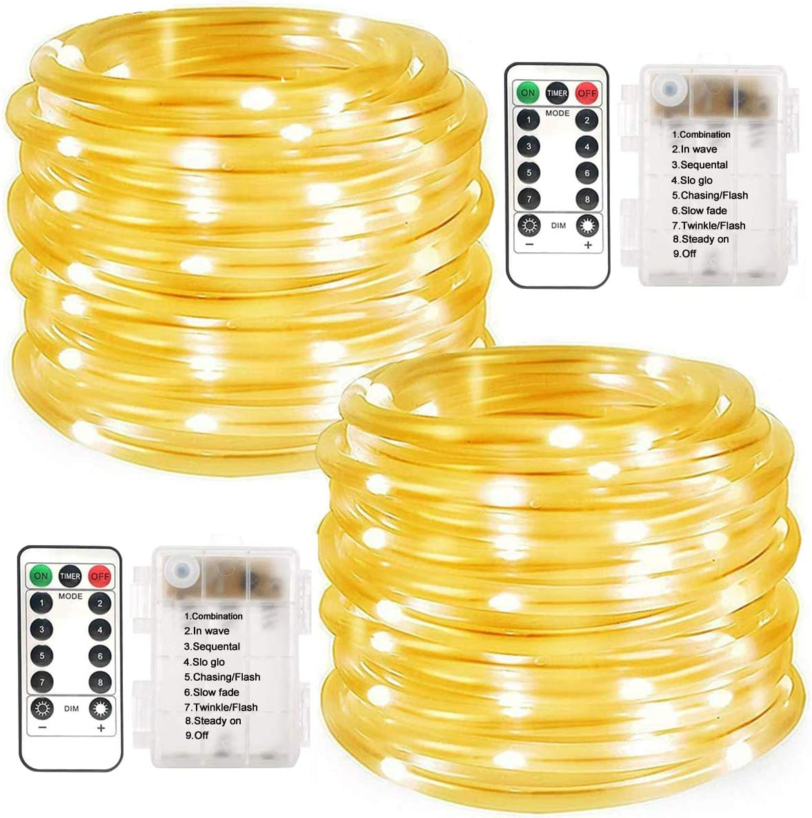 LiyuanQ Battery Operated String Lights, 2 Pack 100 LED Waterproof Rope String Lights Outdoor Fairy PVC Tube Lights 8 Modes 33FT Battery Rope Lights for Garden Party Christmas Decor (Warm White)