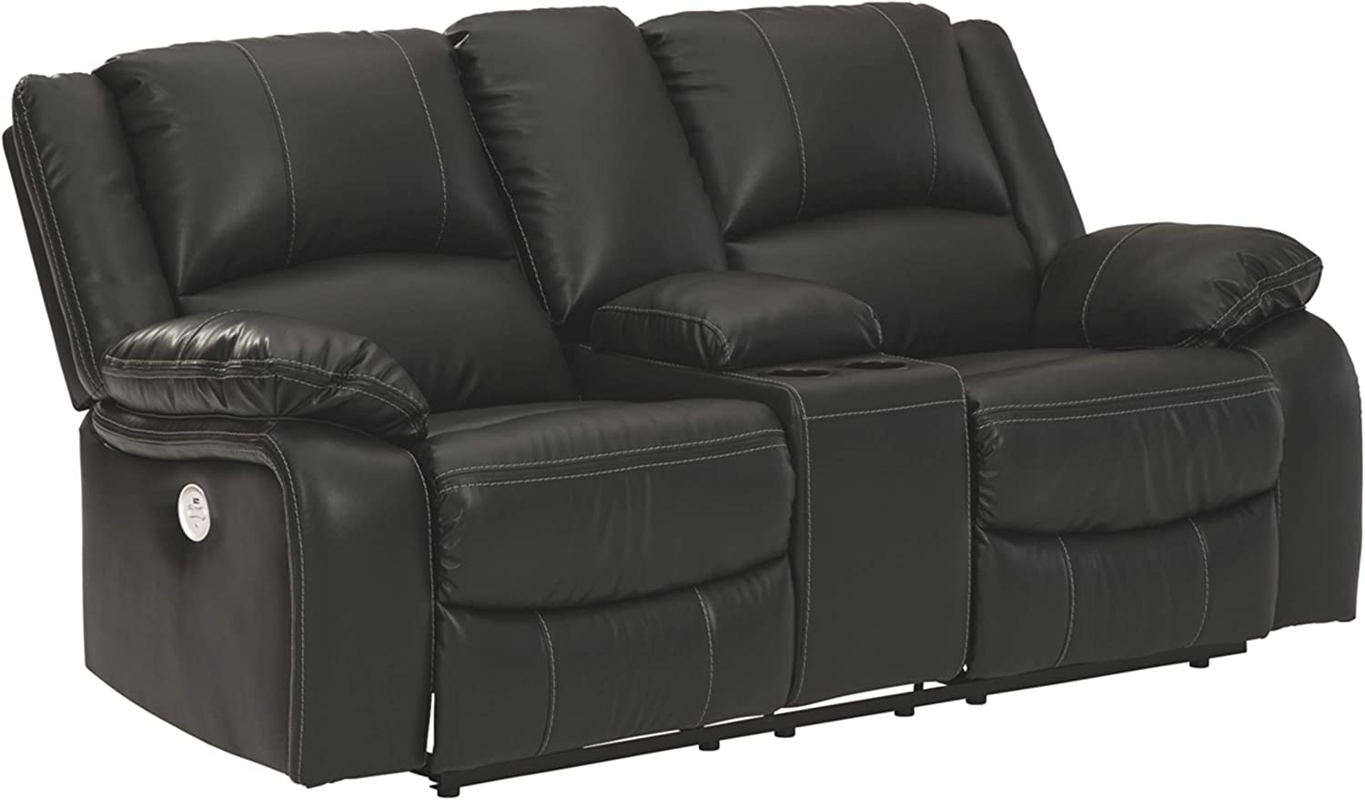 Signature Design by Ashley - Calderwell Contemporary Faux Leather Double Power Reclining Loveseat - Console - Black