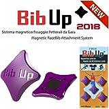 BIBUP 2018 -- 5 Coppie Sistema Magnetico Fissaggio Pettorali da Gara (VIOLA GLITTER)