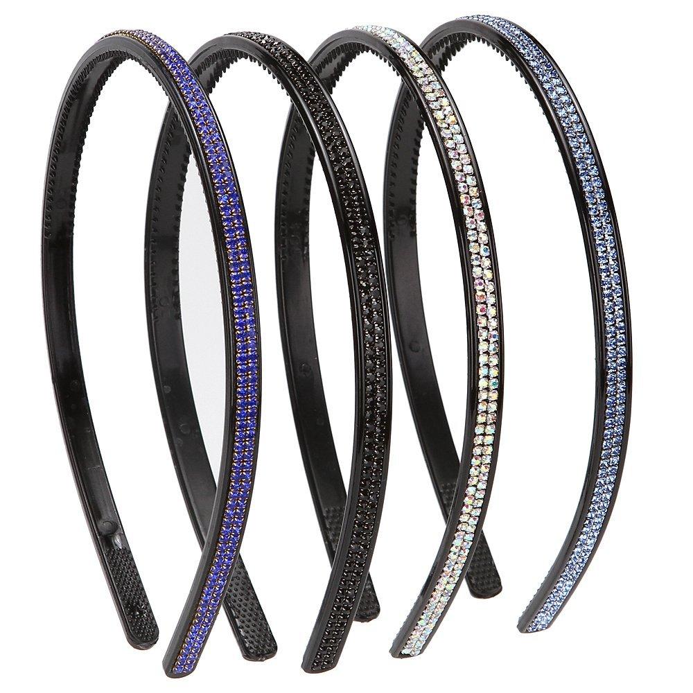 Yishenyishi Fashion Rhinestone And Crystal Hard Headbands, Non-Slip Teeth Hairband For Women, Black/Blue/Silver/Royal Blue, Pack of 4
