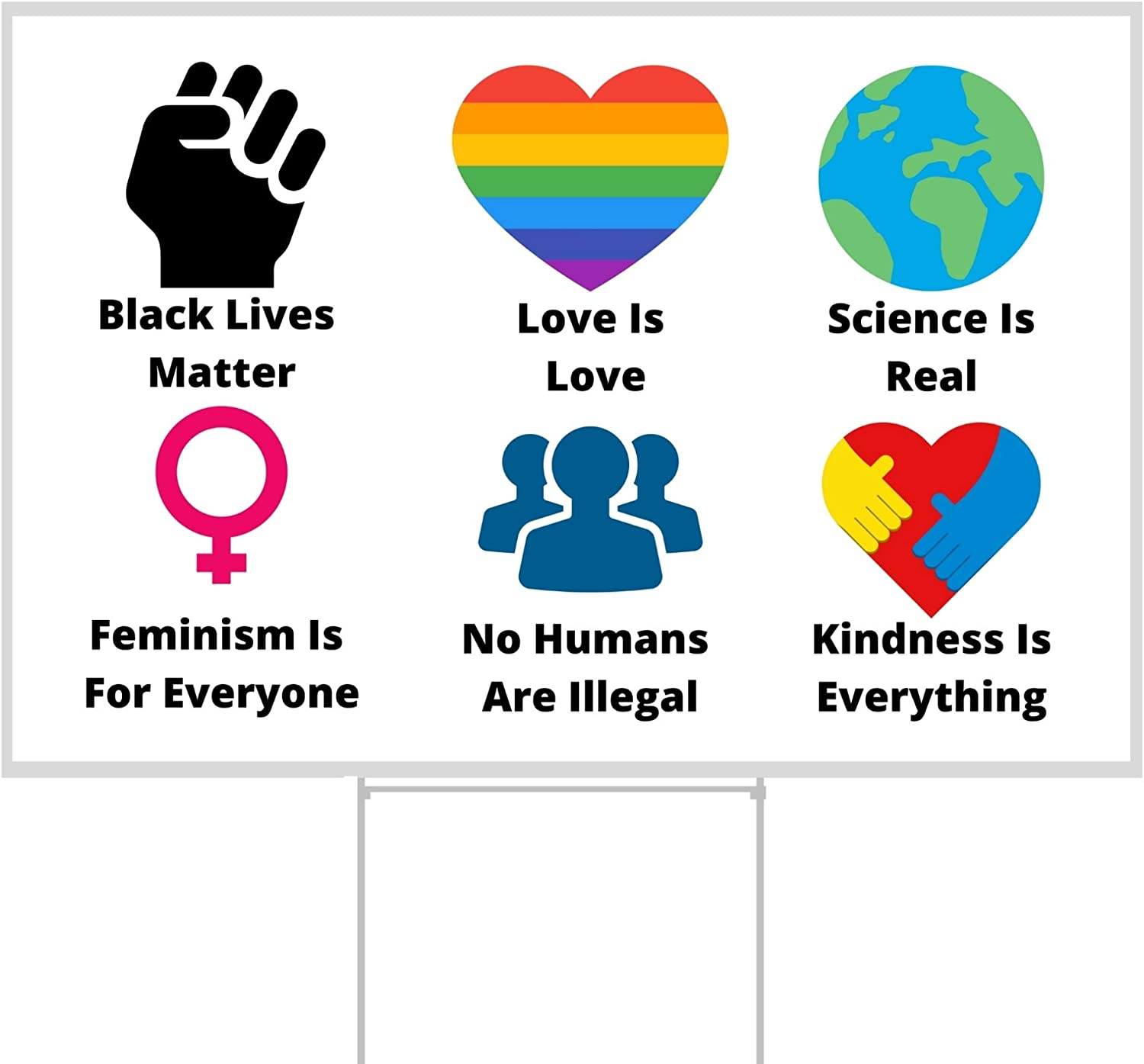 FULL SIZE Black Lives Matter Yard Sign | BLM Lawn Sign with Stakes |We Believe Love is Love, Science is Real, No Humans are Illegal by Little Footprint