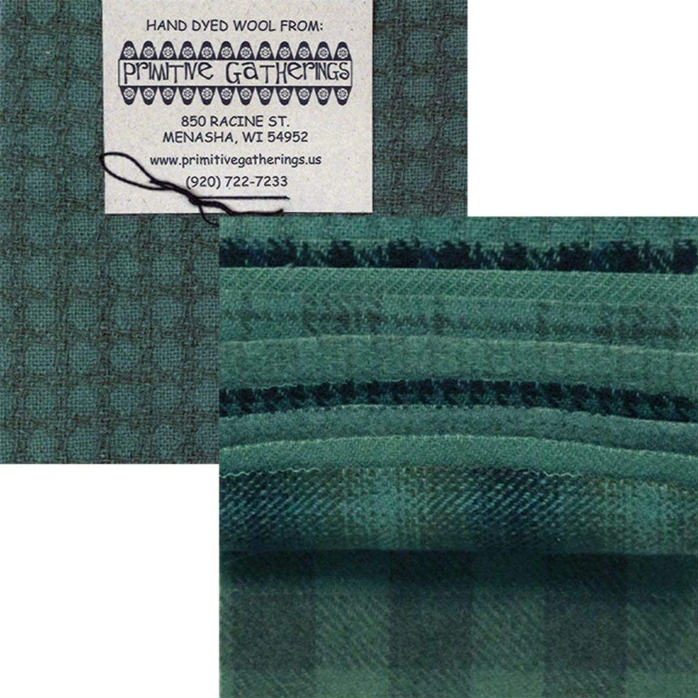 Primitive Gatherings Hand Dyed Wool Seawater Charm Pack 10 5-inch Squares Moda Fabrics PRI 6018