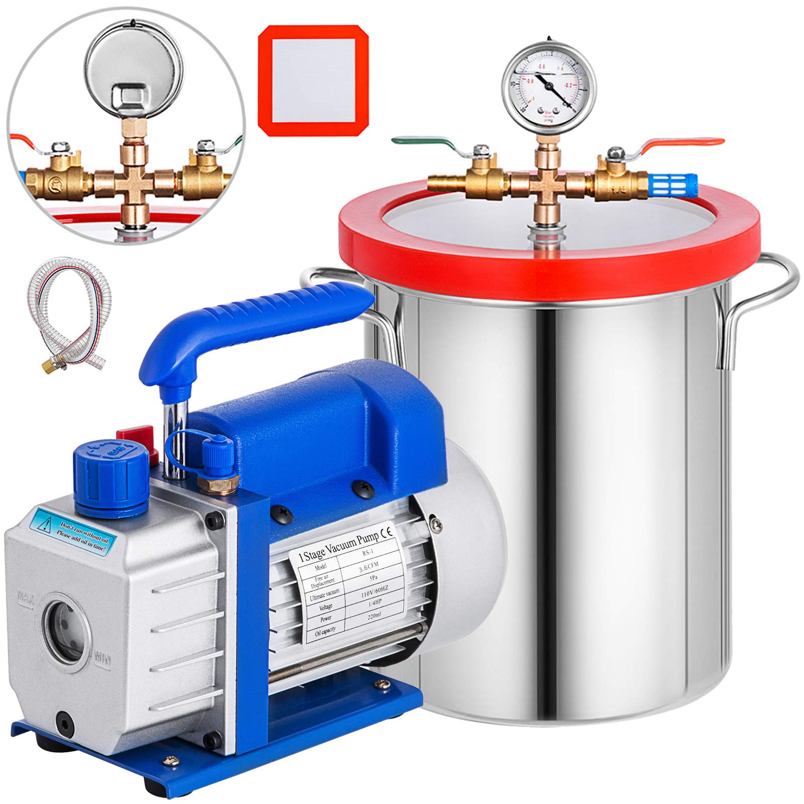 Bestauto 3 Gallon Vacuum Chamber Kit Stainless Steel Degassing Chamber 12L Vacuum Degassing Chamber Kit with 3.6 CFM 1 Stage Vacuum Pump HVAC by Best In Auto