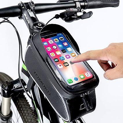 "Tomuku Bolsa de Bicicleta, Bolsa Móvil Bicicleta, Bolsa Protectora Cuadro Bicicleta de móviles de hasta 6 "", Soporte Bolsa Bici Impermeable con ..."