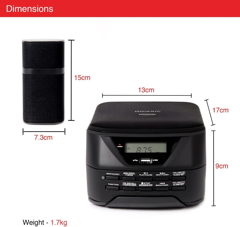 Duronic RCD017 Micro Hi-Fi Sistema de Audio con CD//MP3//AUX//USB//RADIO