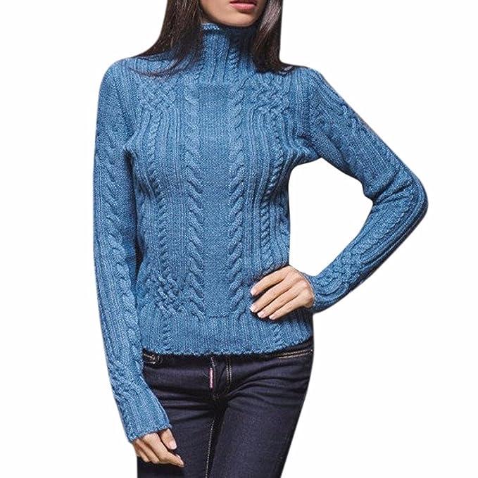 Jersey Mujer Invierno Punto Cuello Alto Manga Larga Suéter Sencillos  Especial Turtleneck Fiesta Rayas Sueter De ba40b35f0b3f