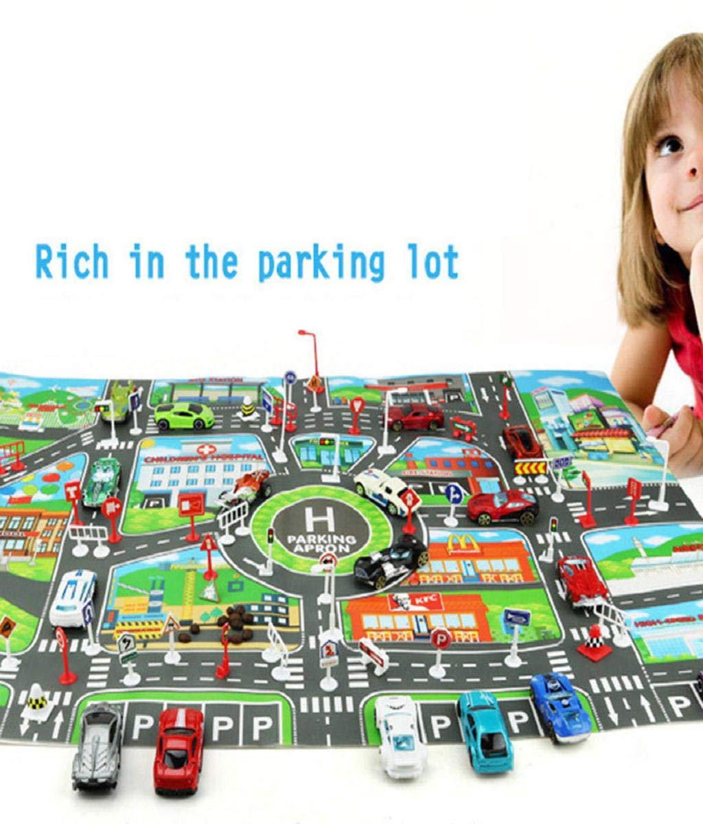 Vertily Educational Toys Parking Lot Road Sign Map Kids Play Mat City Road Buildings Parking Map Game Scene Map Educational Toys Kids Traffic Sign With Street Play Map Parking Lot Road Mat
