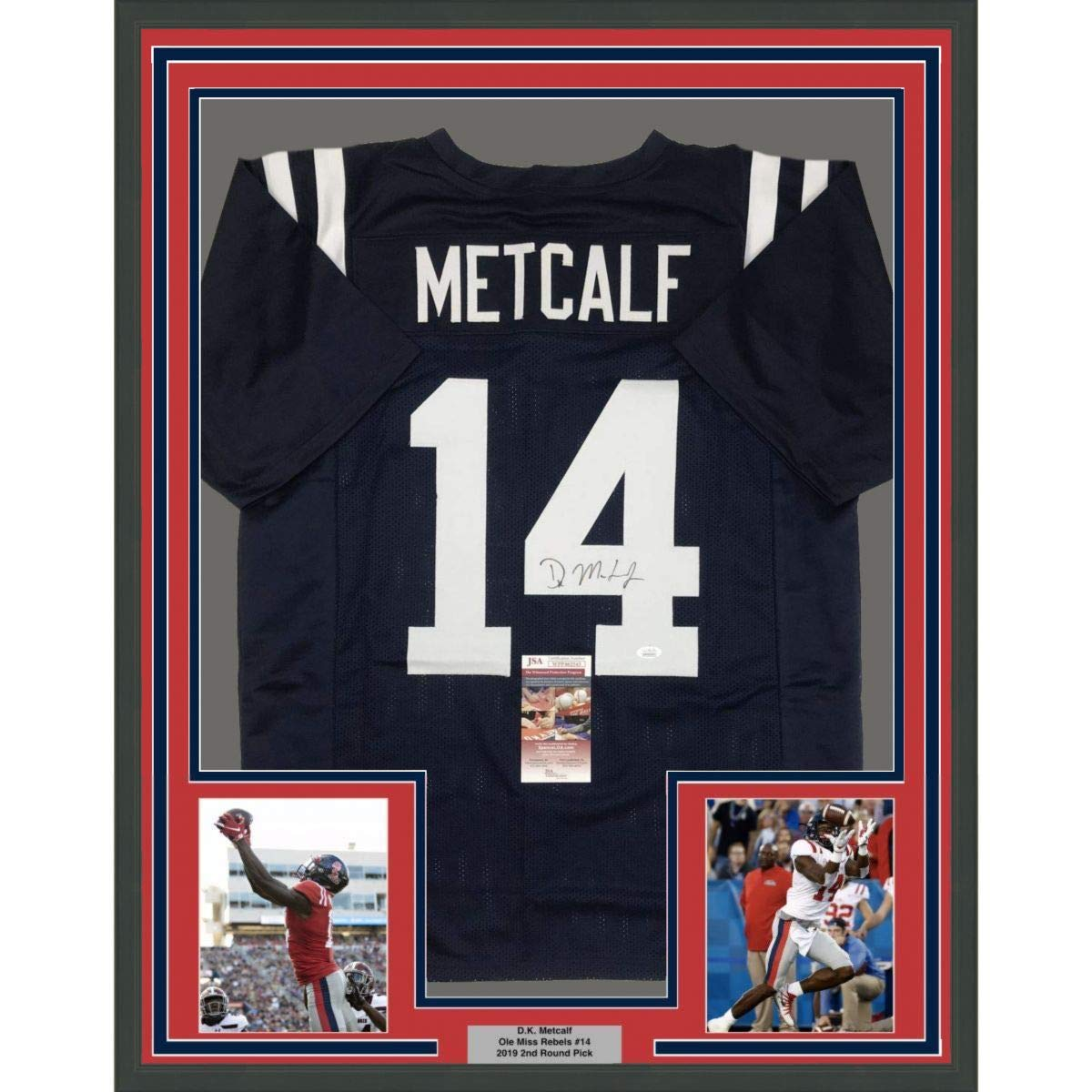 differently a1036 fc207 Framed Autographed/Signed DK D.K. Metcalf 33x42 Ole Miss ...