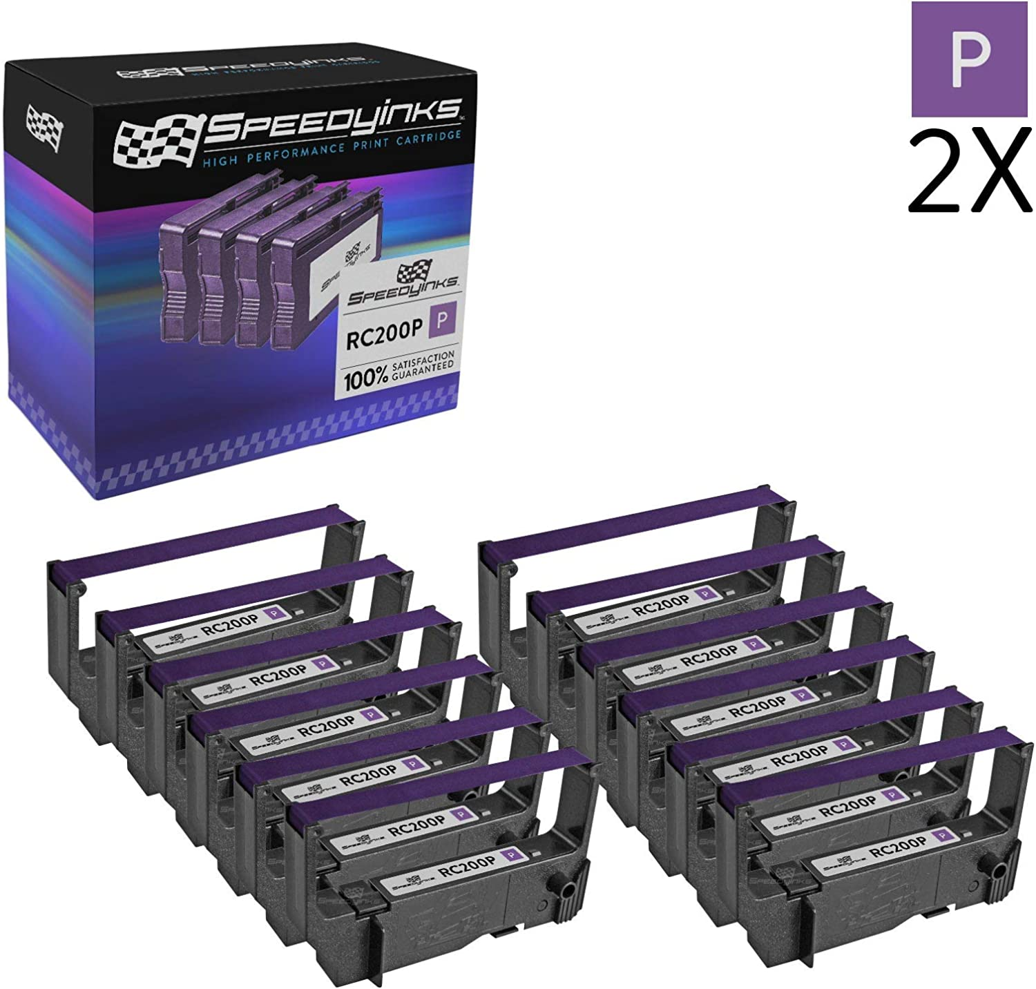 Speedy Inks Compatible POS Ribbon Cartridge Replacement for Star Micronics RC200P Purple, 6-Pack
