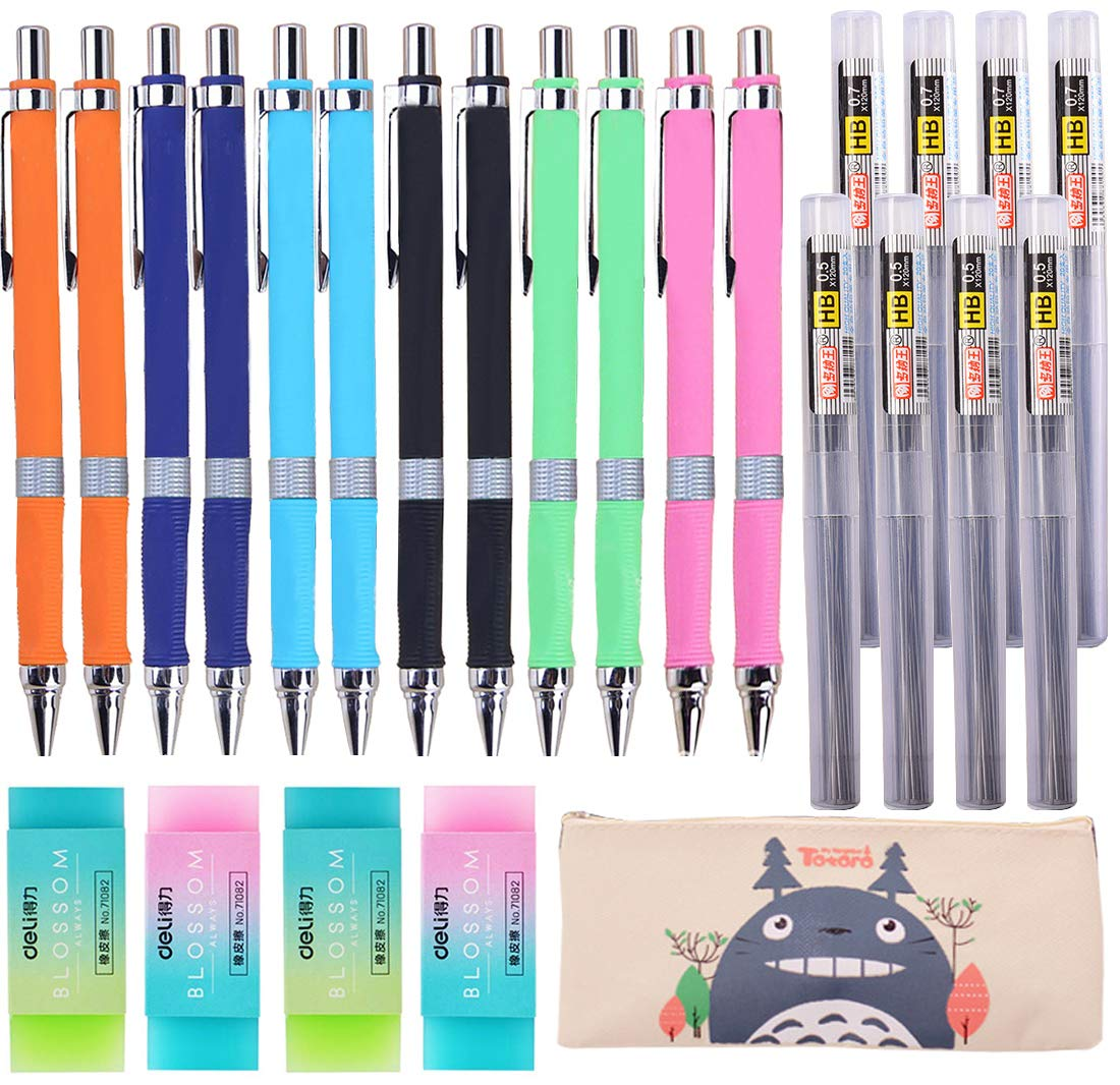 25 Pieces Mechanical Pencil Set,12 Pieces 0.5 mm and 0.7 mm Mechanical Pencils,8 Replaceable Tubes Lead, 4 Pack Erasers and a pencil case For School and Office by Dlazm