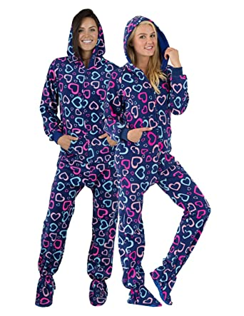 b8303ebd56 Amazon.com  Footed Pajamas - Hearts of Love Adult Hoodie Fleece ...