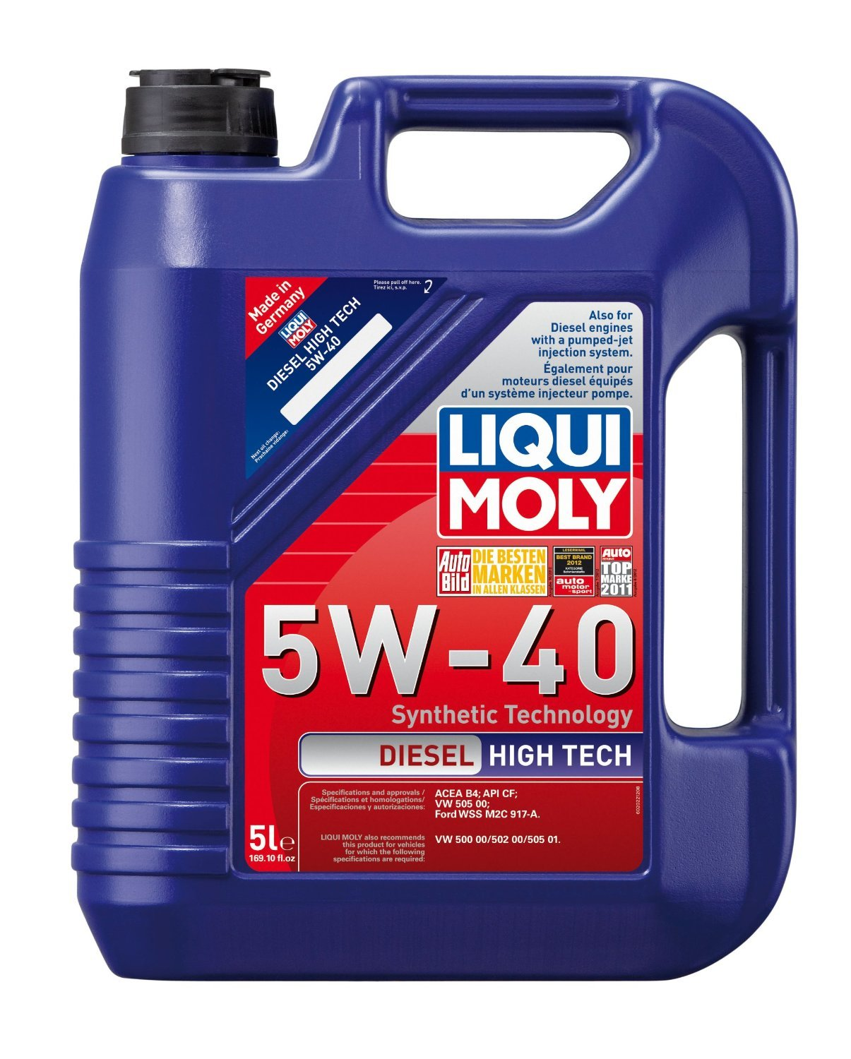 Liqui Moly (2022-4PK) Diesel High Tech Synthetic 5W-40 Motor Oil - 5 Liter, (Pack of 4)