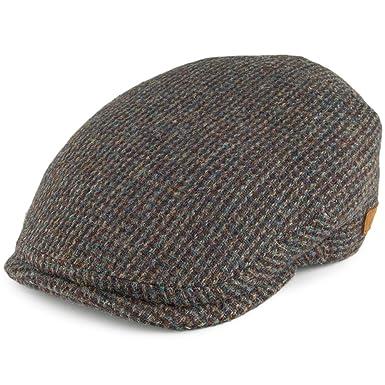 56f7f1fac Olney Hats Harris Tweed Flat Cap - Olive-Brown MEDIUM: Amazon.co.uk ...