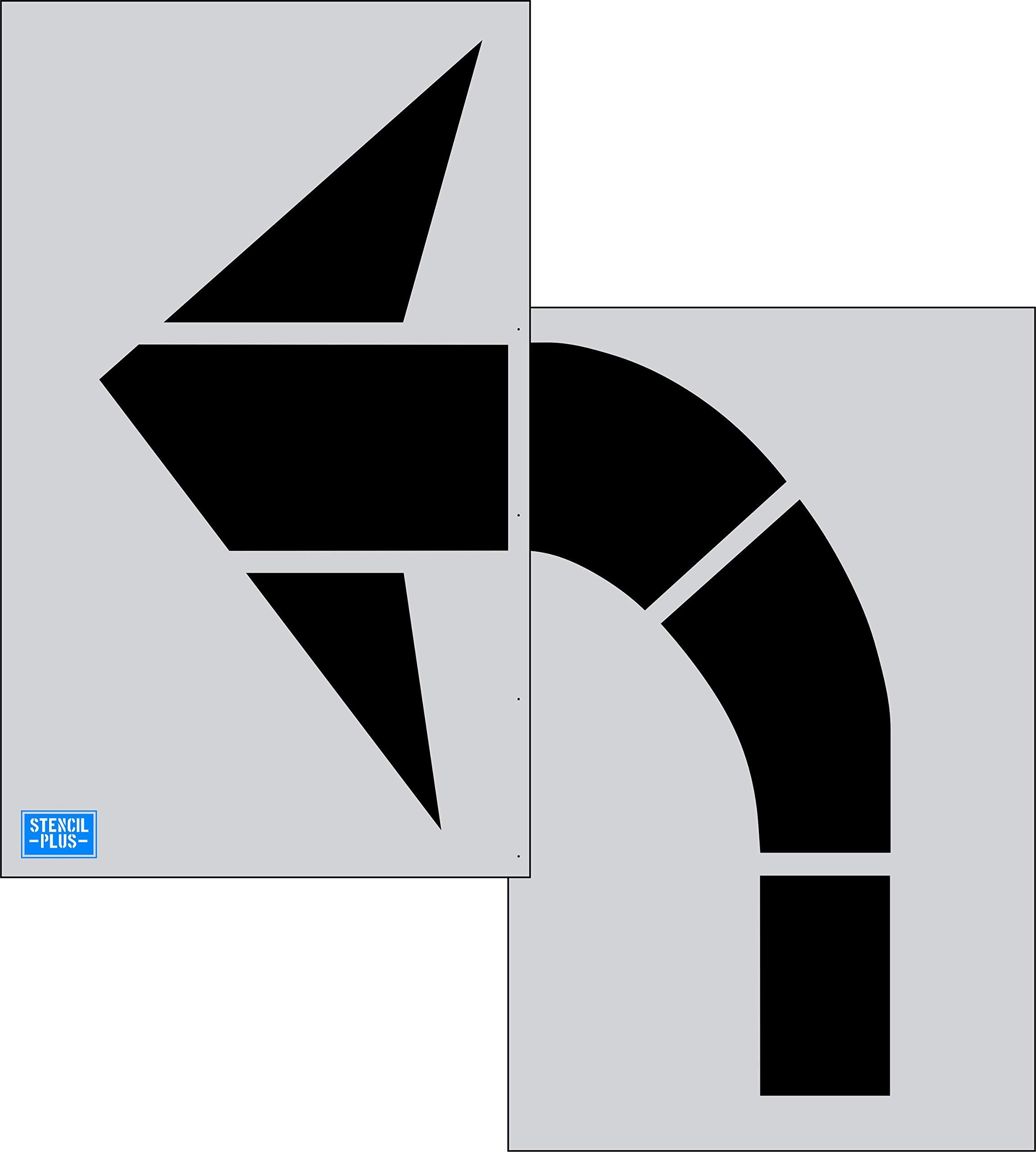 96'' FHWA/DOT Turn Arrow 2 PC Pavement Marking Stencil by Stencil Plus