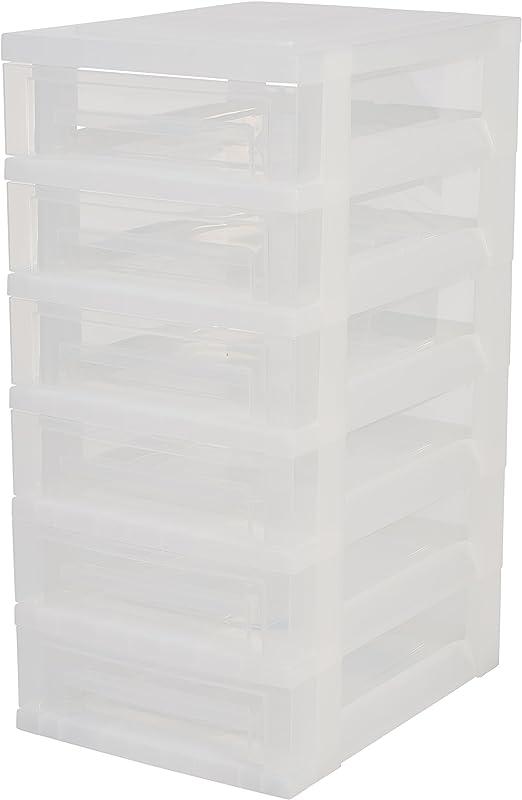 Iris Ohyama, torre de almacenamiento con 6 cajones sobre ruedas - Smart Drawer Chest - SDC-360, plástico, blanco / transparente, 42 L, 29 x 39 x 62 cm: Amazon.es: Hogar
