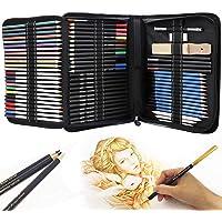 Piezas de boceto y dibujo de Arte kit, Dibujo de kit,Vagalbox 71-Piece Sketch Kit Juego completo,también incluye…
