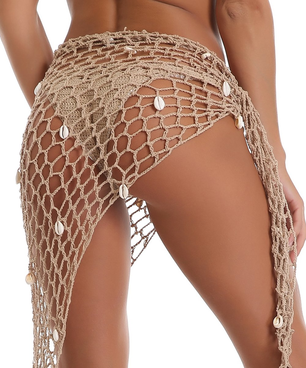 BeadChica Women Crochet Beach Cover up Fishnet Sarong Wrap With Shells Pailletes by BeadChica (Image #3)