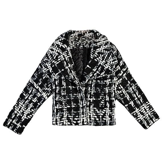 e4f1dc9f790 VERYCO Women Slim Short Tweed Jacket Female Thicken Plaid Outwear Jacket  Coat: Amazon.co.uk: Clothing