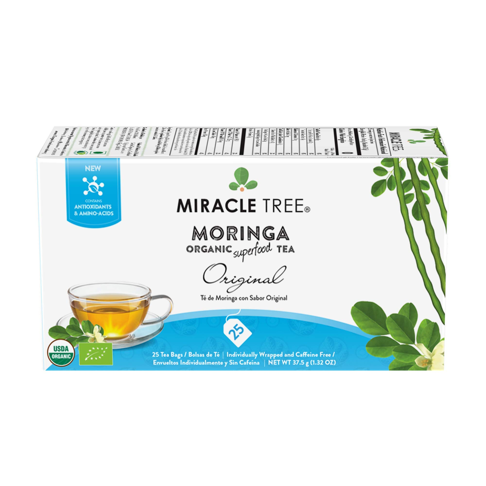 Miracle Tree - 6 Count of Organic Moringa Superfood Tea, 25 Individually Sealed Tea Bags, Original