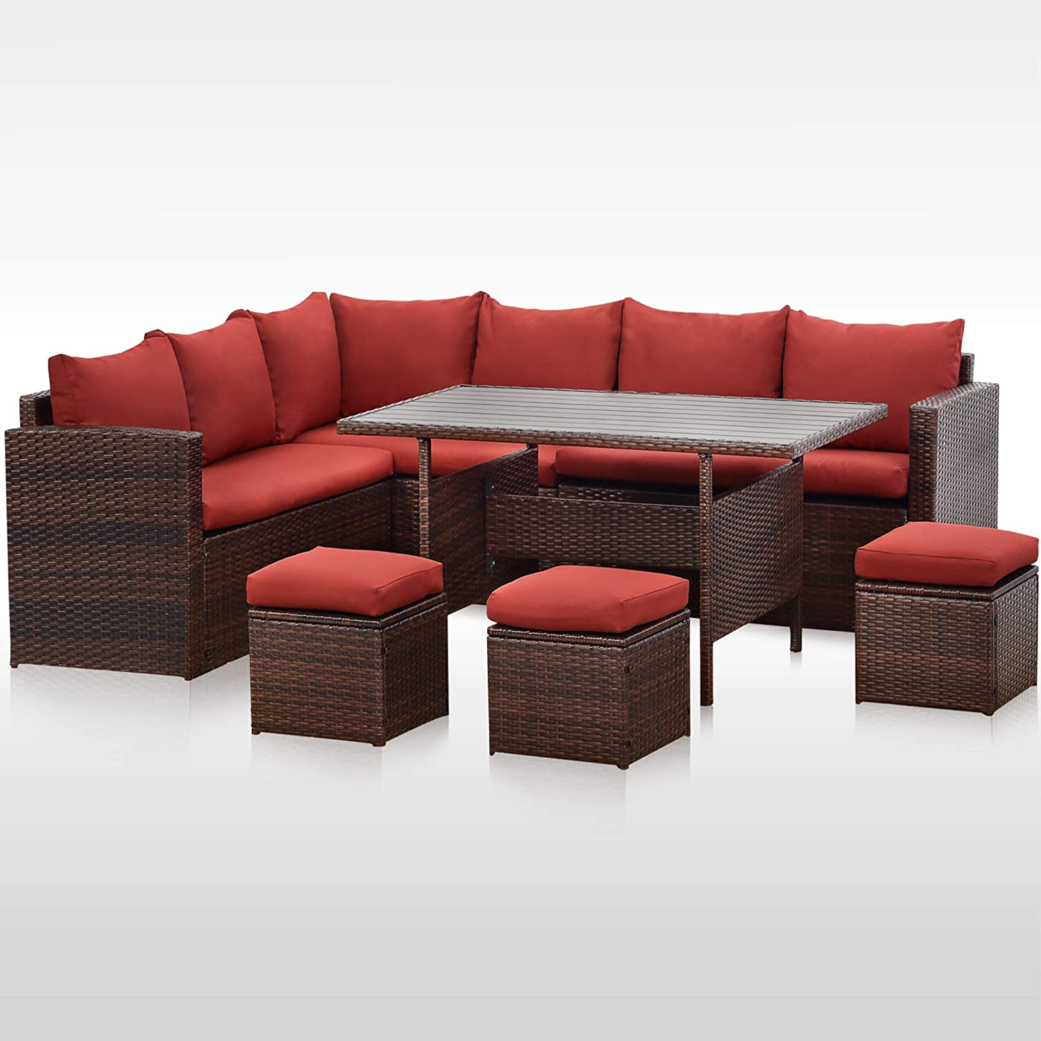 Wisteria Lane Patio Furniture Set, Outdoor 7 Pieces Sectional Sofa Couch, All-Weather Upgraded Wicker Dining Table and Chair with Ottoman, Improved Wine Red Cushion