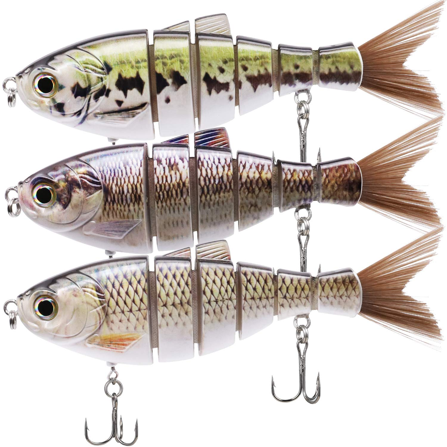 TRUSCEND Fishing Lures 6'' ~ 7'' Saltwater Freshwater Heavy-Duty Metal Jointed Swimbaits Glidebaits Hard Lures for Bass Catfish Pike Muskie Large Fish Lures Fishing Tackle Kits Lifelike (Combination F) by TRUSCEND