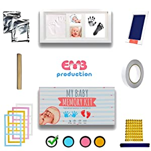 Baby Footprint Kit and Baby Handprint Kit - Keepsake by E.M.B - The Cute Way to Photo Your Baby's Growth Large - Fits Twins - Newborn - Boy or Girl - Baby Shower Gift