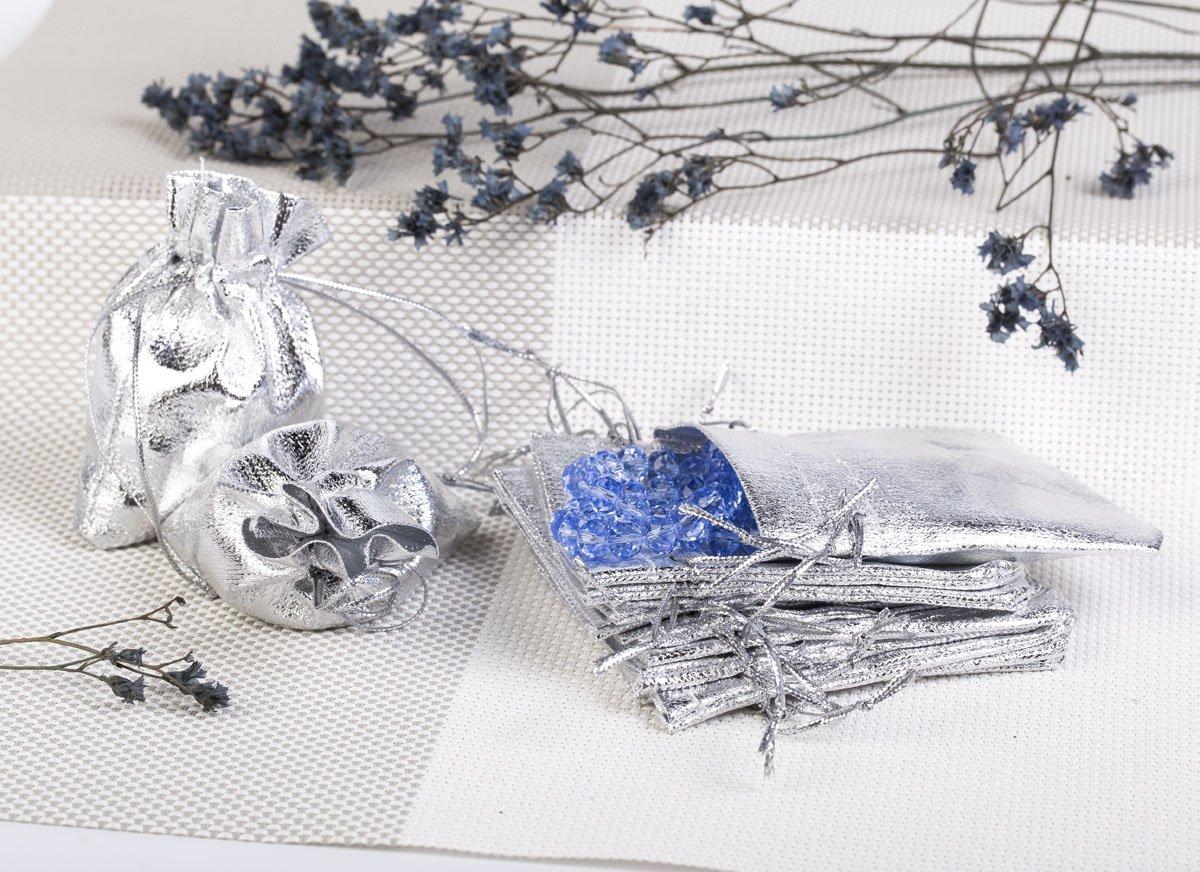 Säckchen 7x9 cm Organzasäckchen Schmuckbeutel Wedding Beutel Hochzeit Silber (100)
