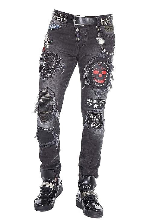 Cipo Baxx Herren Jeans Hose Slim-Fit Ripped Frayed Destroyed Skinny Fit Regular Fit Denim Hose mit Batches Schwarz W33 L34
